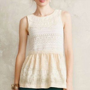One September Lace Peplum Crochet Ivory Tank Top
